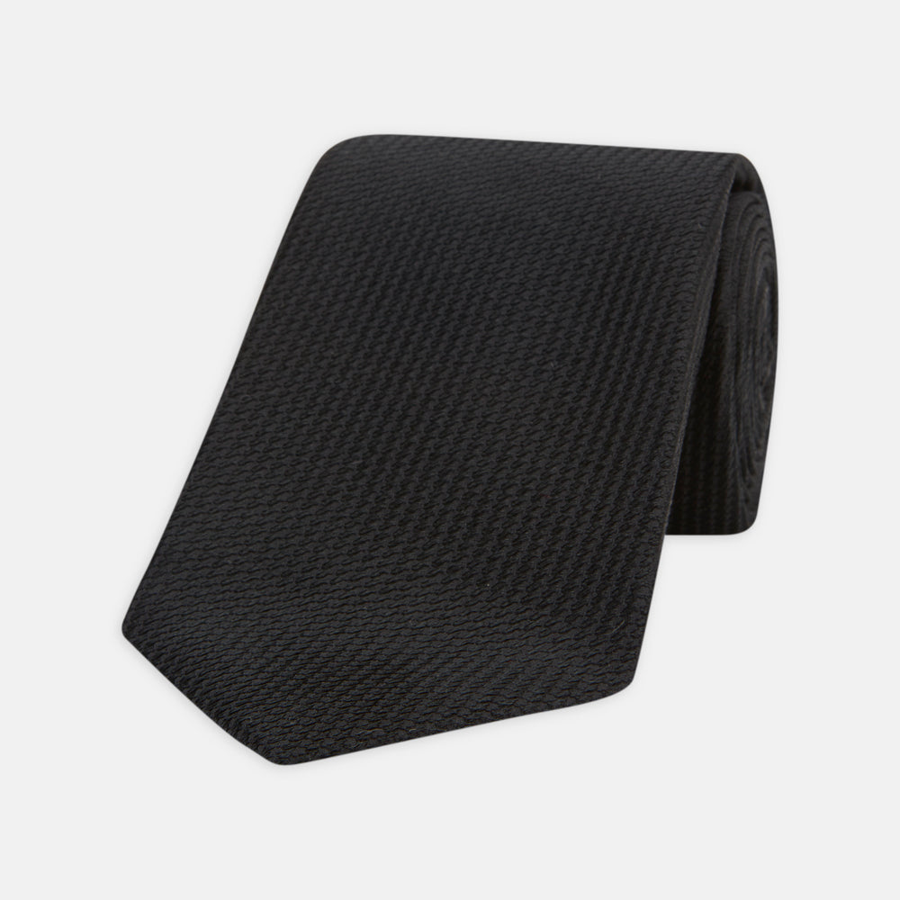 Seven-Fold Black Lace Silk Tie
