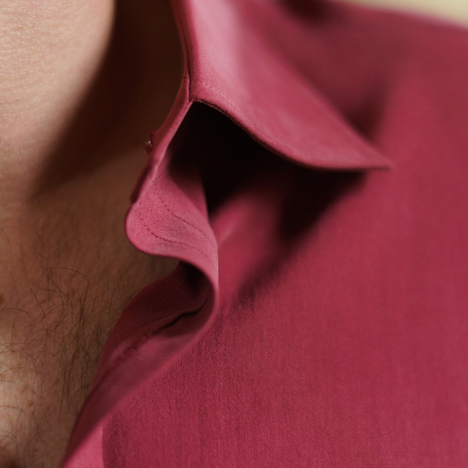 Burgundy Silk Shirt with T&A Collar and 3-Button Cuffs