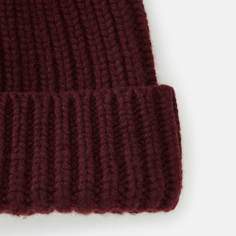 Burgundy Cashmere Ribbed Hat