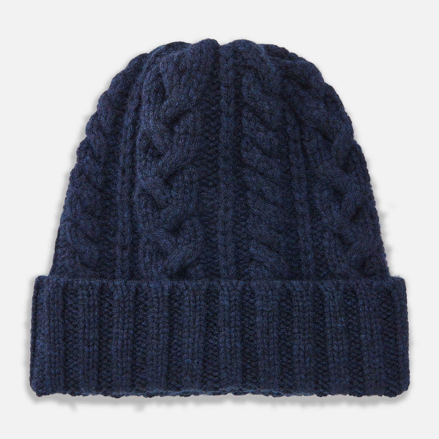 Navy Cable Knit Cashmere Hat