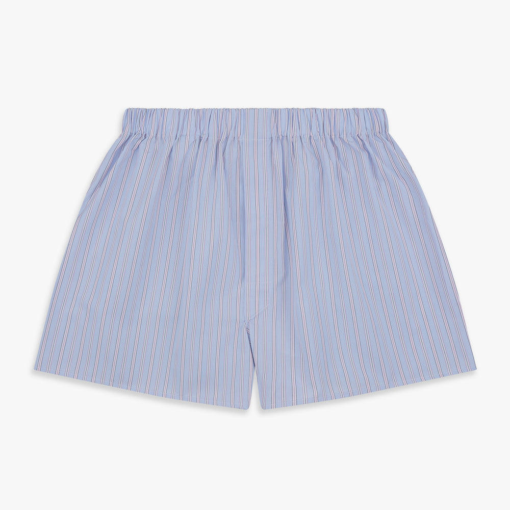 Blue and Pink Stripe Poplin Cotton Boxer Shorts