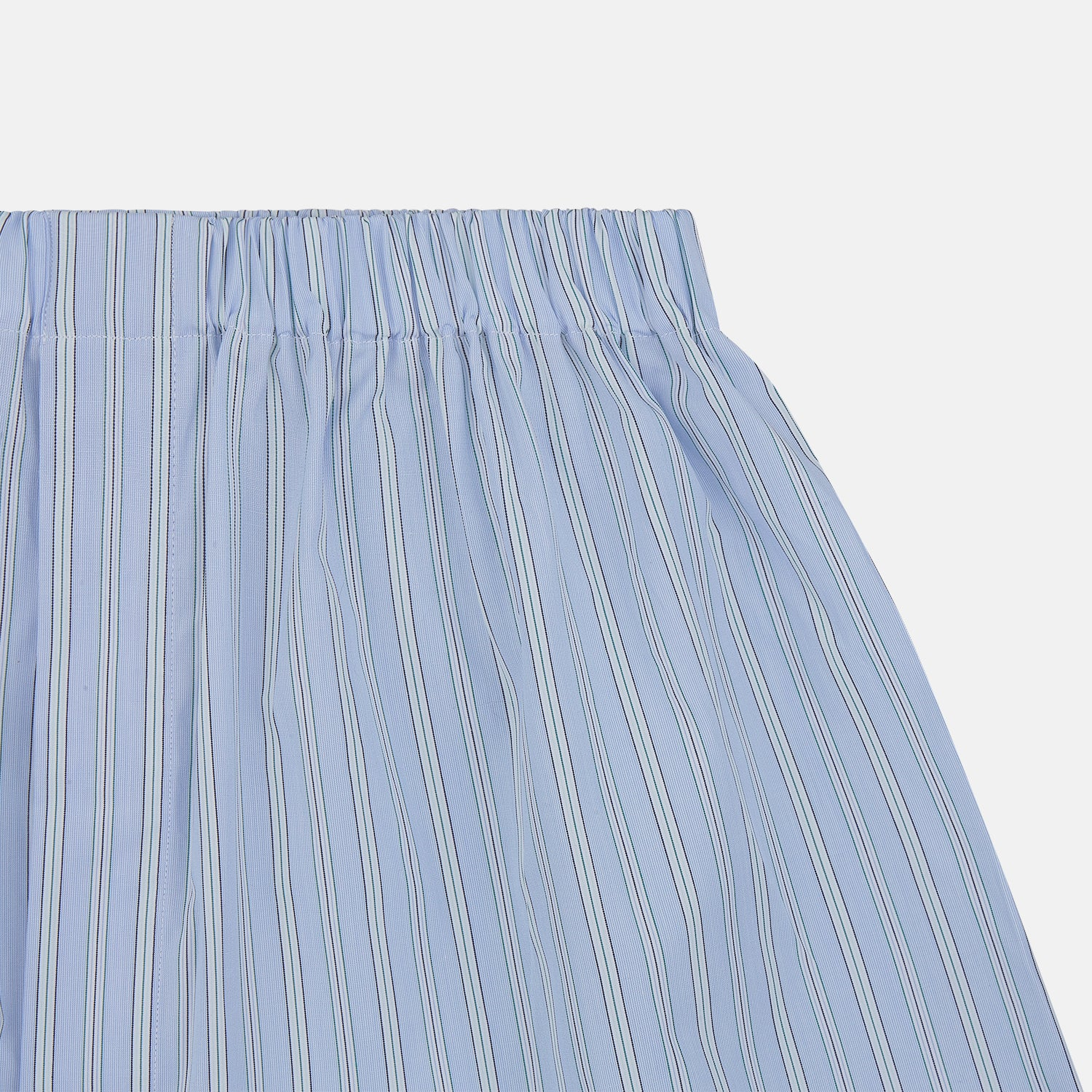Blue and Green Stripe Poplin Cotton Boxer Shorts