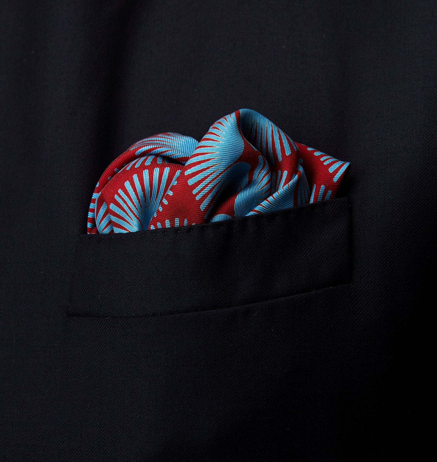 Red Fan Motif Silk Pocket Square