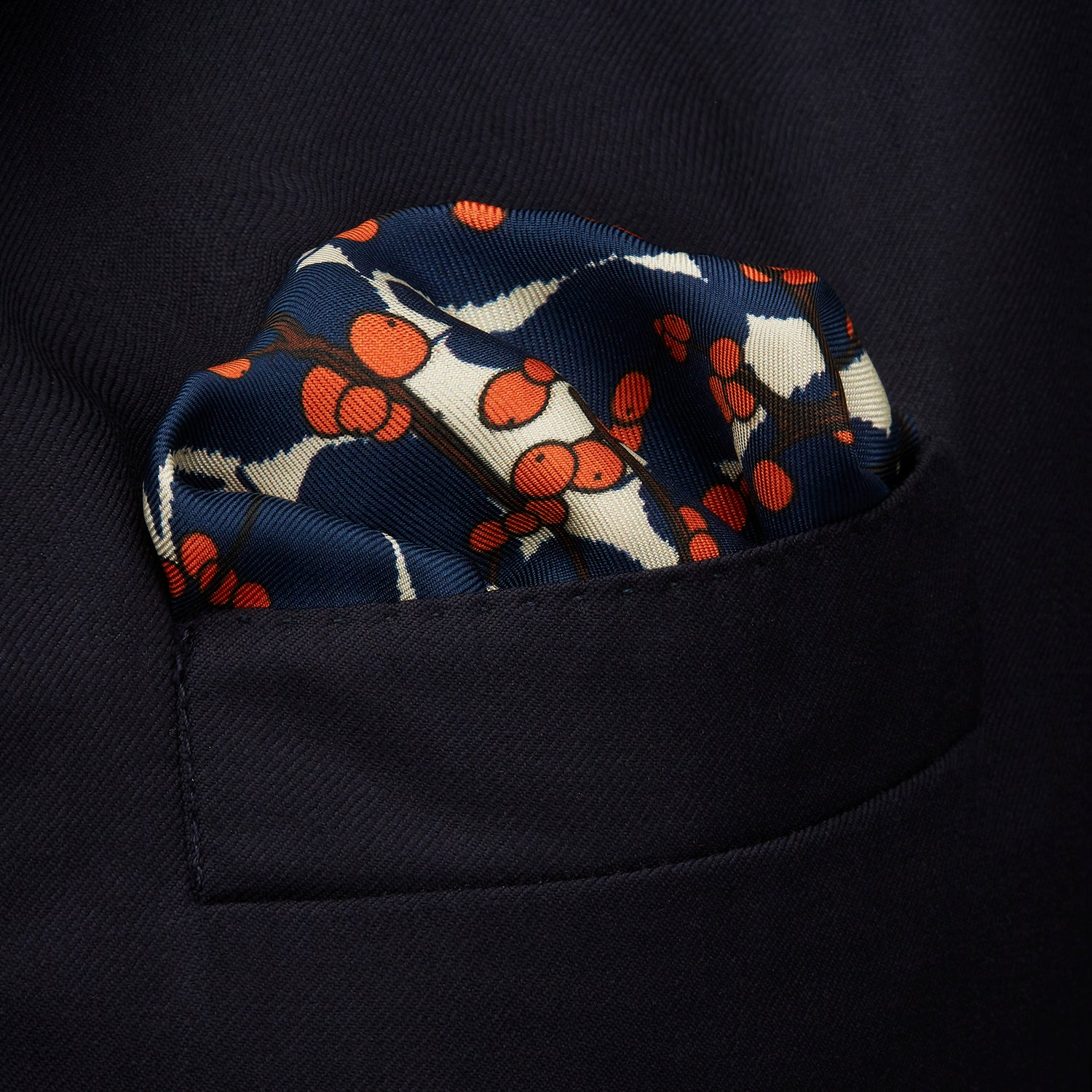 Blue Berry Floral Pocket Square