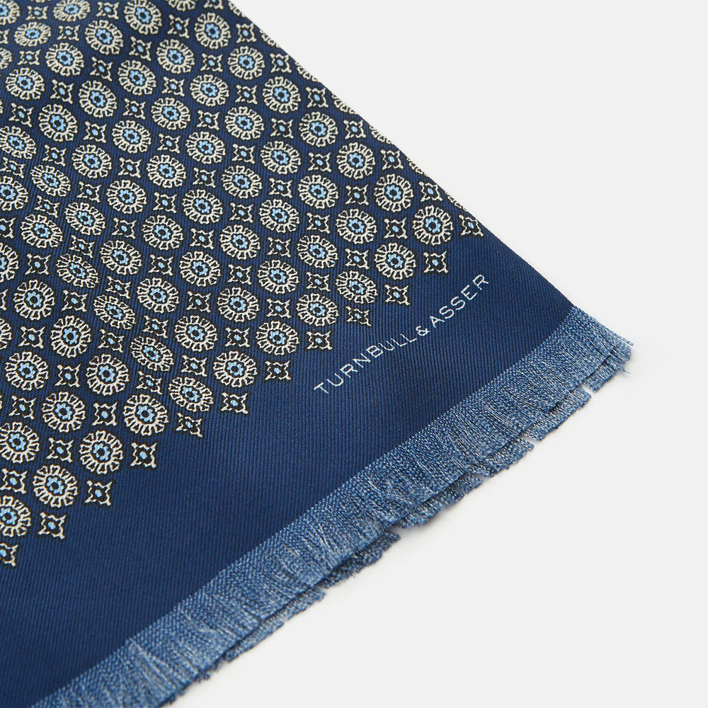 Blue & Yellow Jacquard Circle Silk Scarf