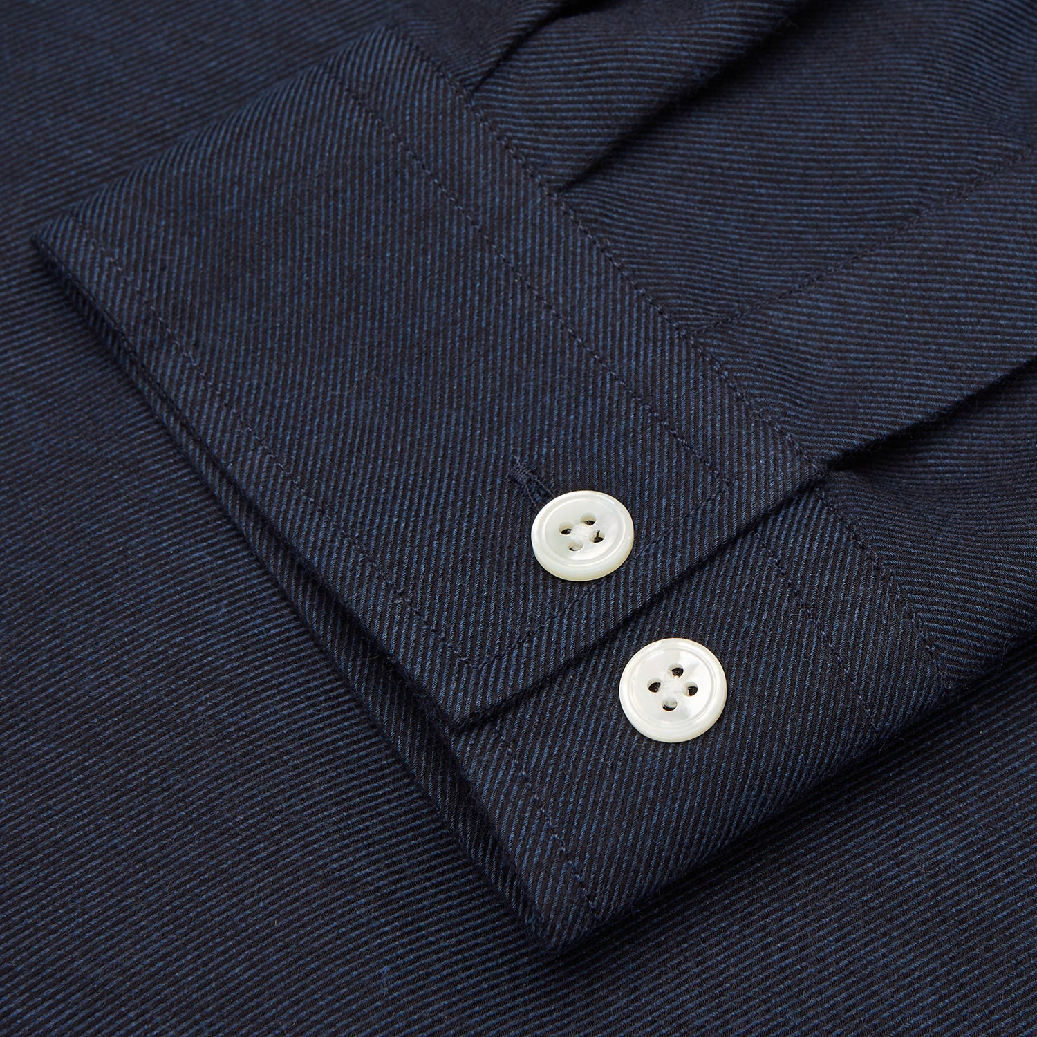 Holiday Fit Navy Cotton and Cashmere Blend Shirt with 1-Button Cuffs