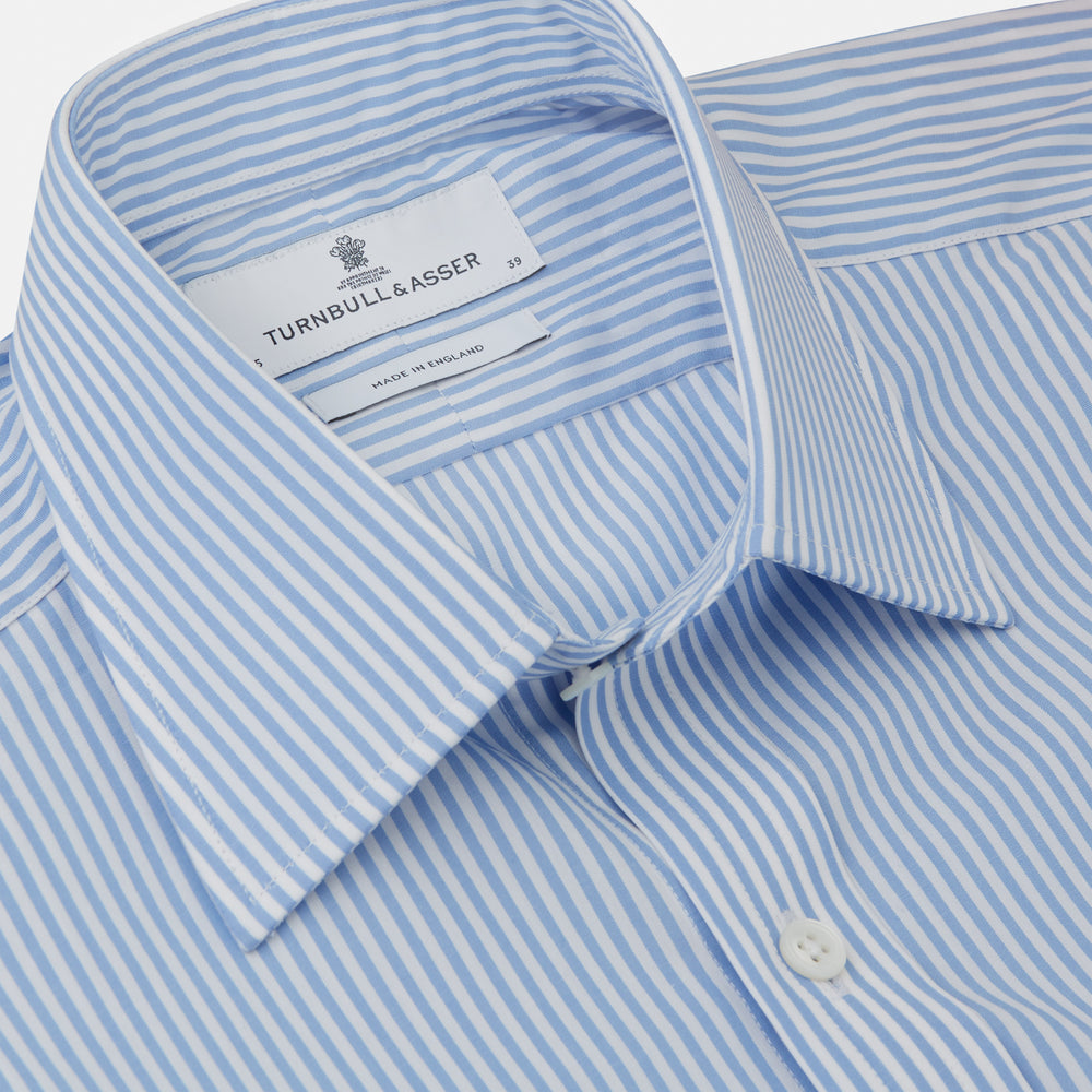 Light Blue Bengal Stripe Shirt with T&A Collar and 3-Button Cuffs