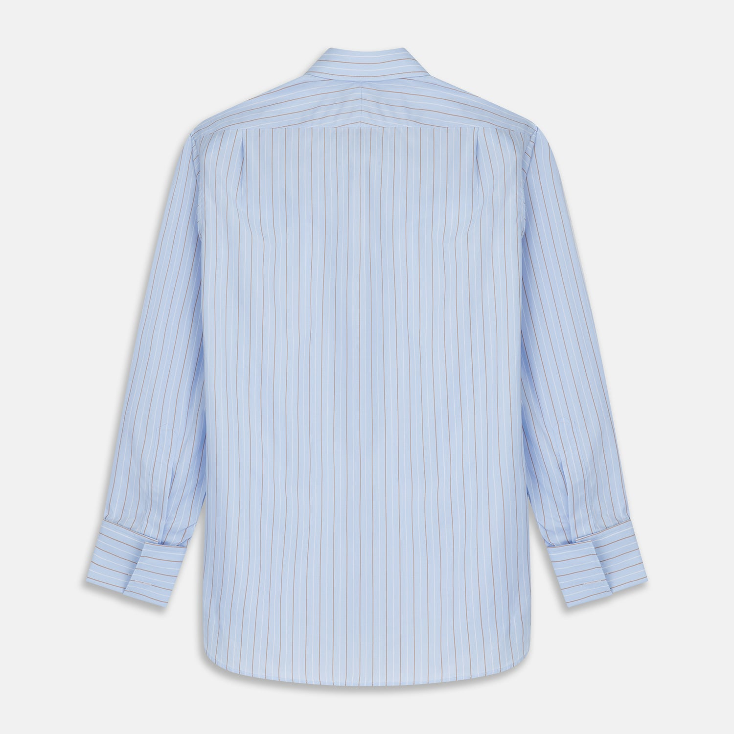 Beige Stripe Regular Fit Shirt with T&A Collar and Double Cuffs
