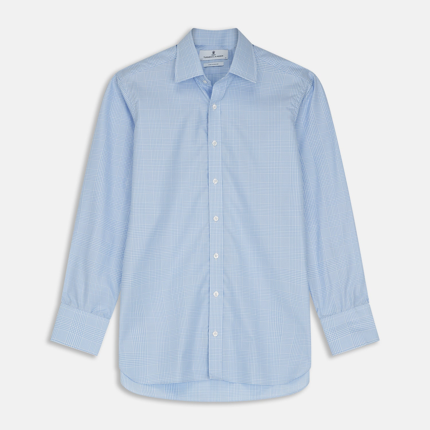 Pale Blue Check Shirt With T&A Collar And 3-Button Cuffs