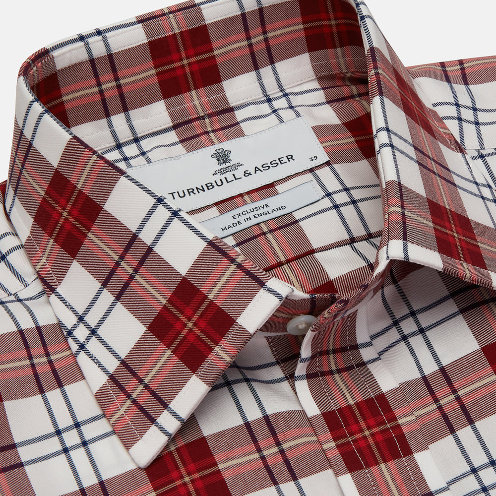 Red Check Shirt with Derby Collar and 3-Button Cuffs