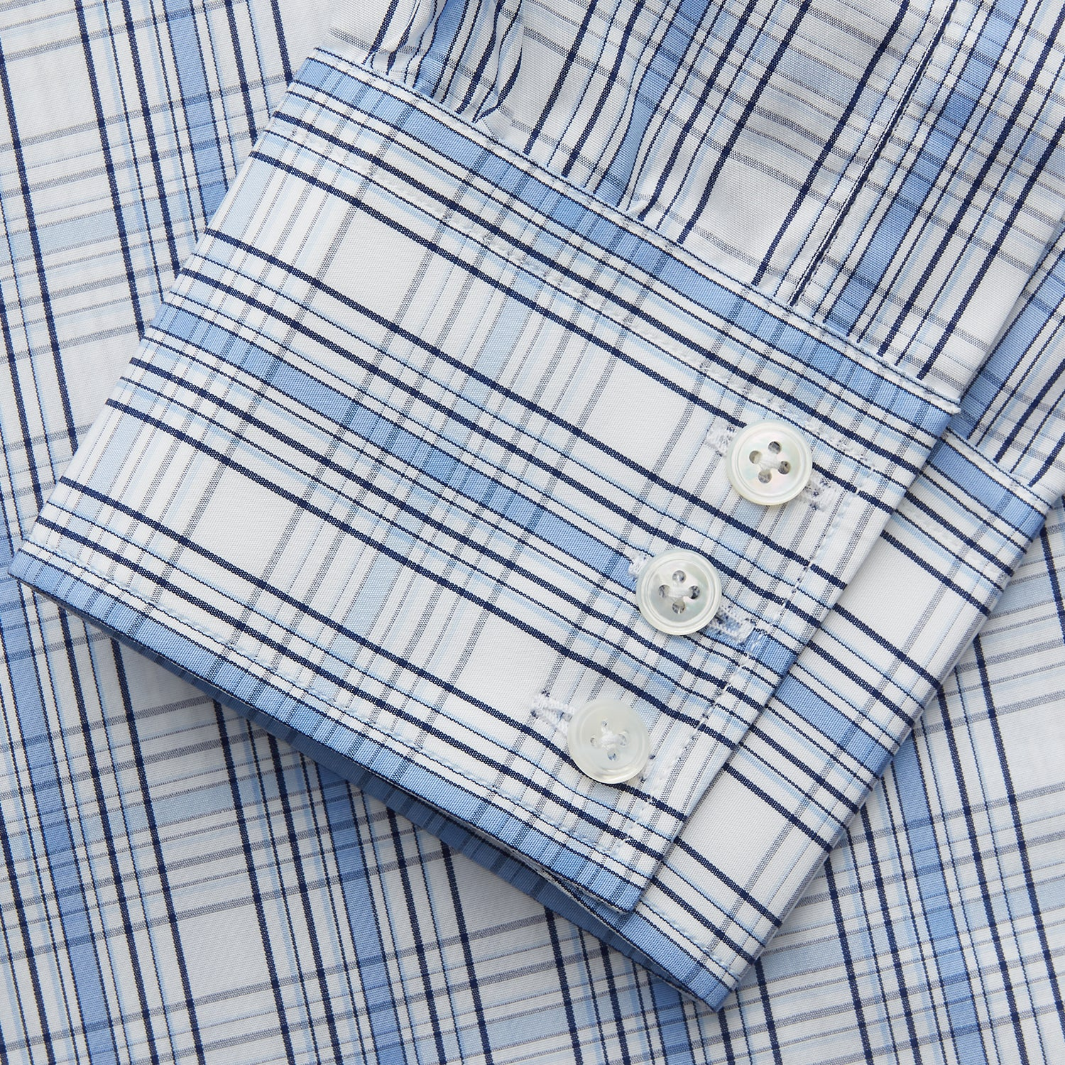 Tonal Blue Check Regular Fit Shirt with T&A Collar and 3-Button Cuffs