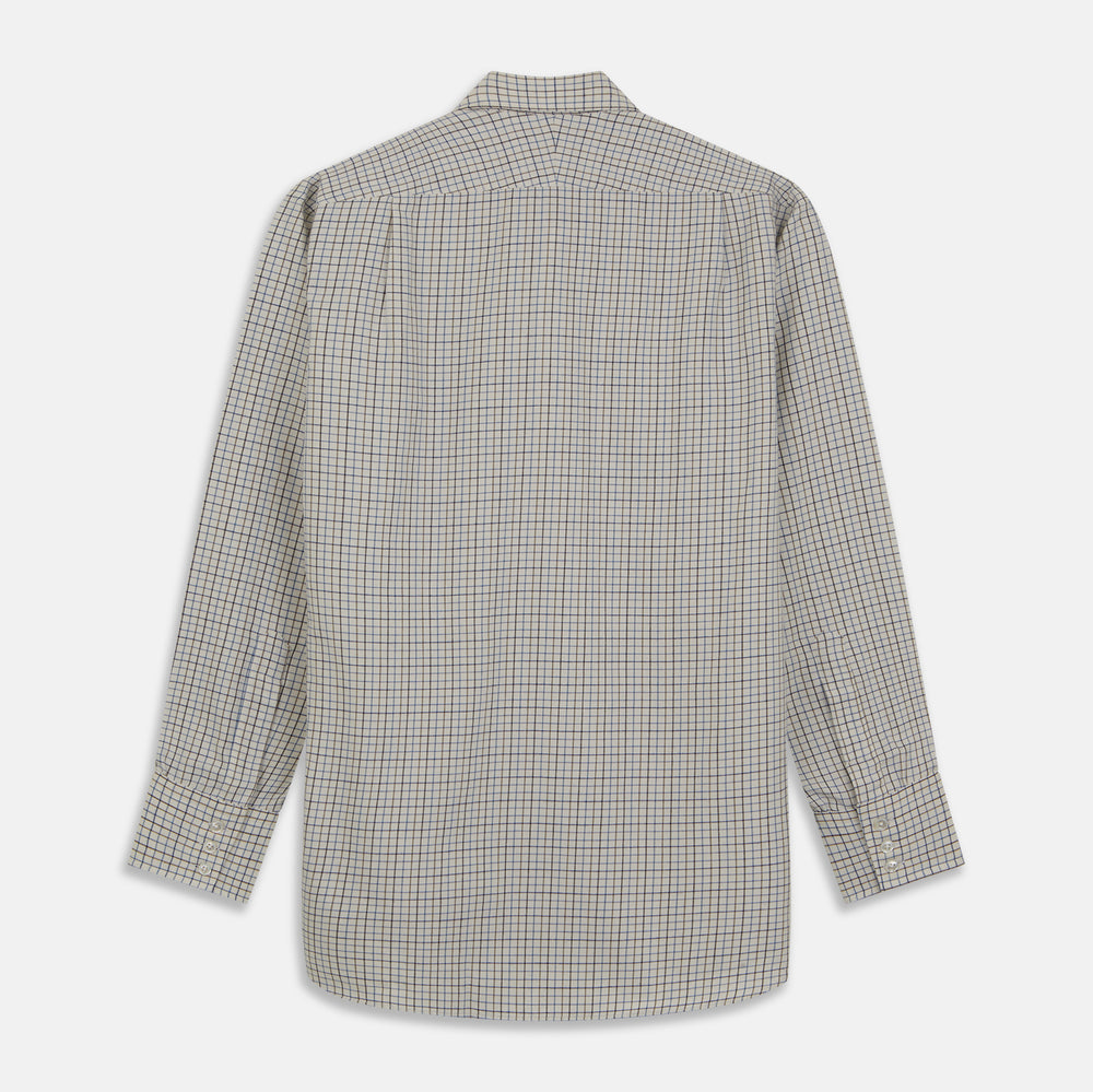 Blue Multi Check Cotton-Cashmere Shirt with T&A Collar and 3-Button Cuffs