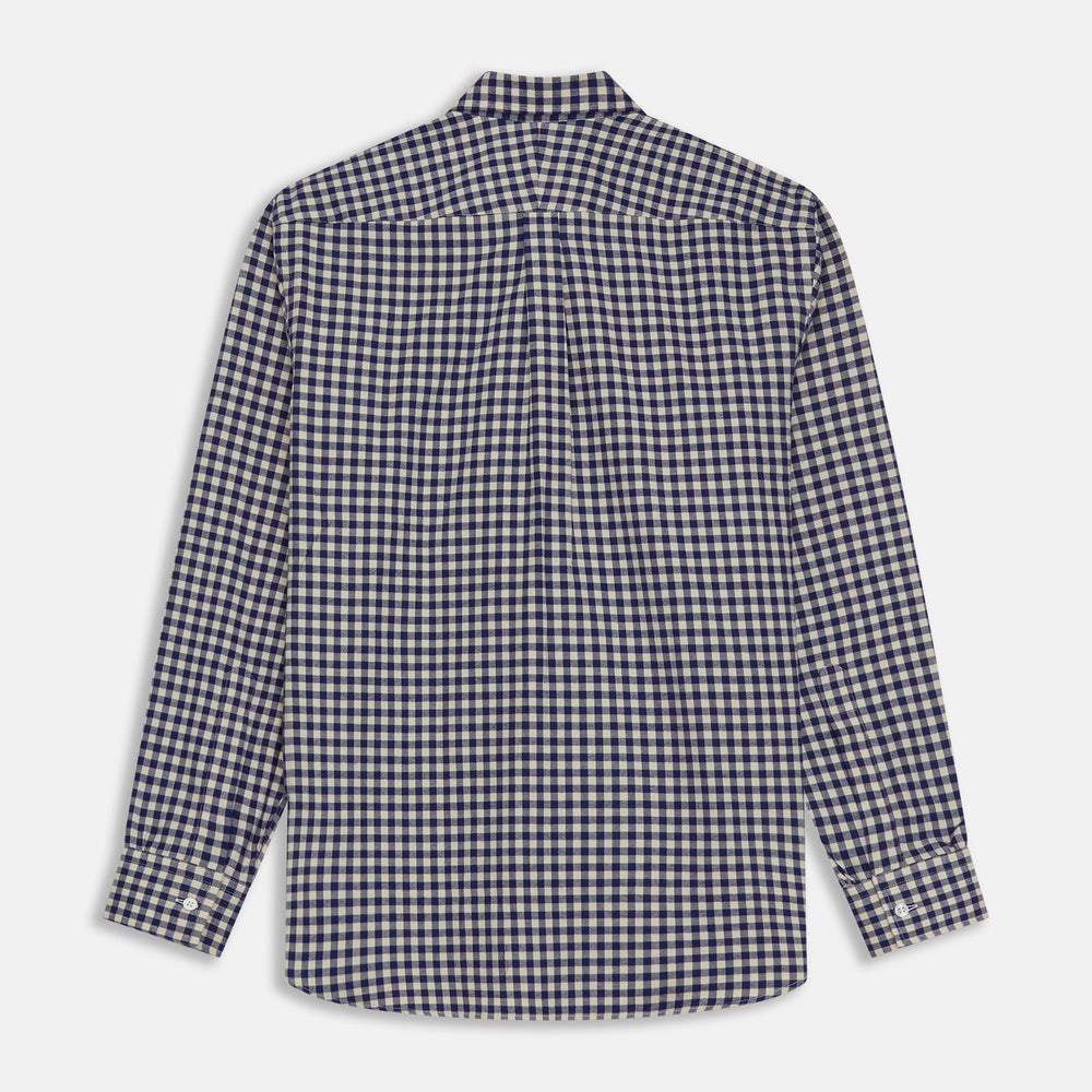 Blue Check Shirt with Derby Collar and 1-Button Cuffs