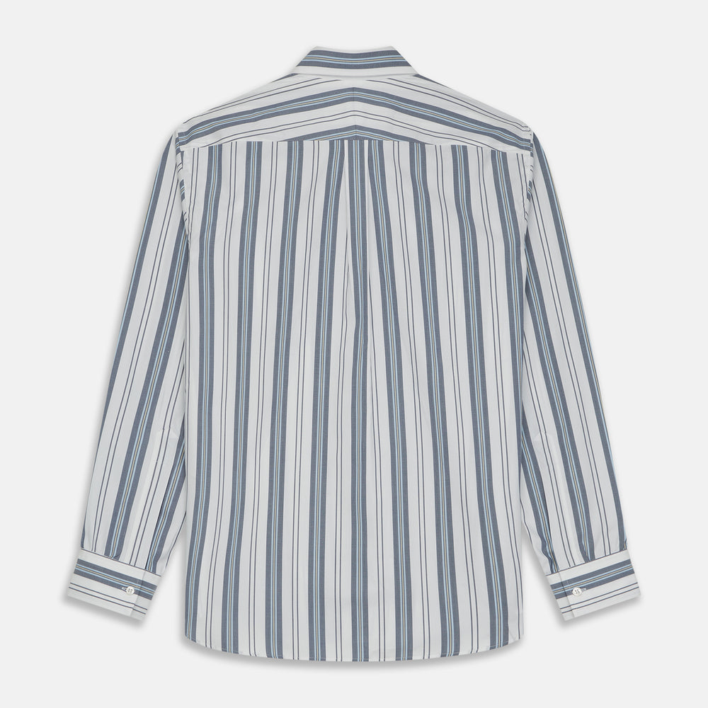 Blue, Green & White Stripe Weekend Fit Shirt with T&A Collar, and 1-Button Cuffs