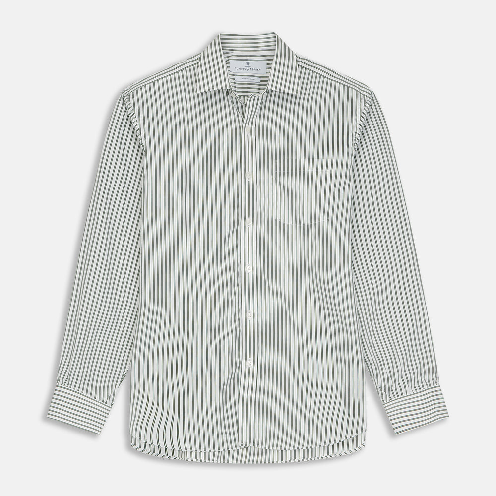 Green Stripe Weekend Fit Shirt with T&A Collar and 1-Button Cuffs