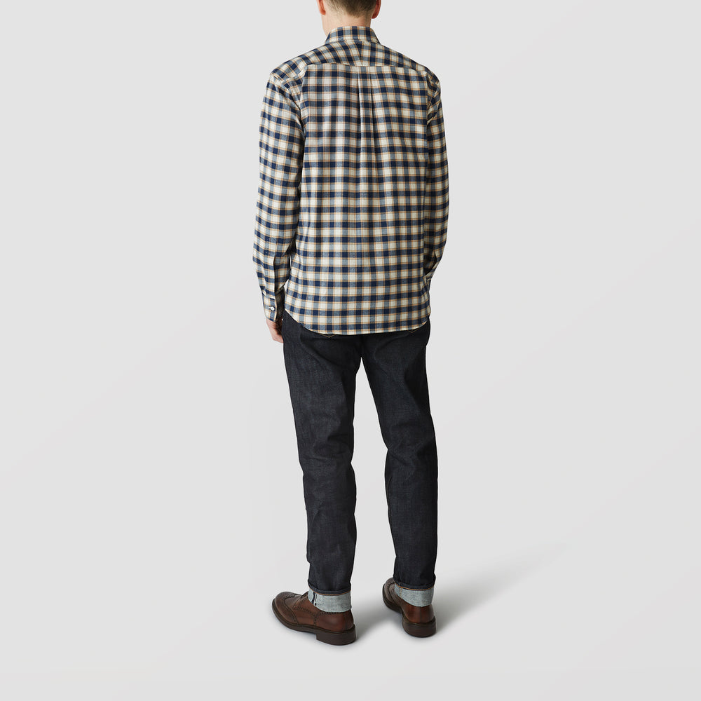 Blue Multi Check Shirt with Derby Collar and 1-Button Cuffs