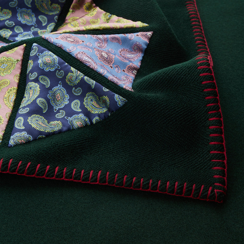 Dark Green Applique Hand Stitched Lambswool Blanket