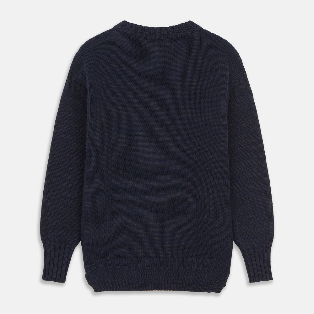 Navy Lewis Guernsey Knitted Jumper