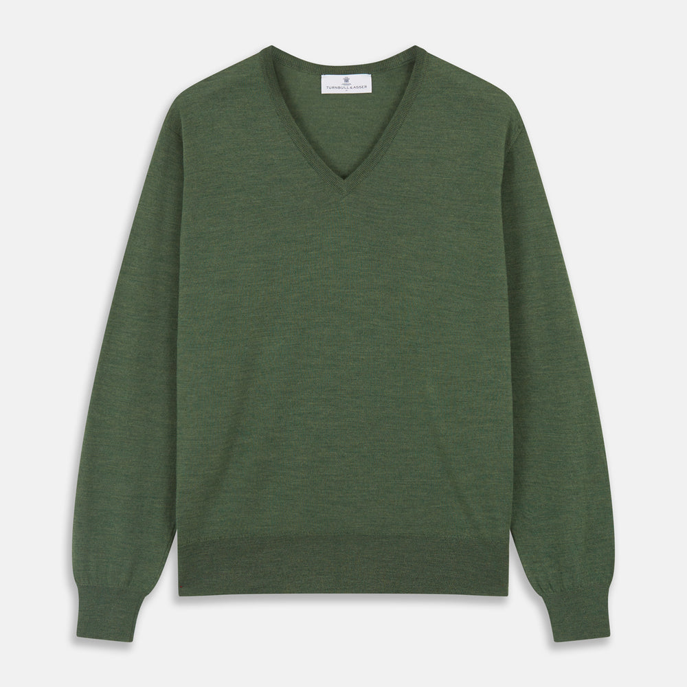Bottle Green Merino Kennedy V-Neck Jumper