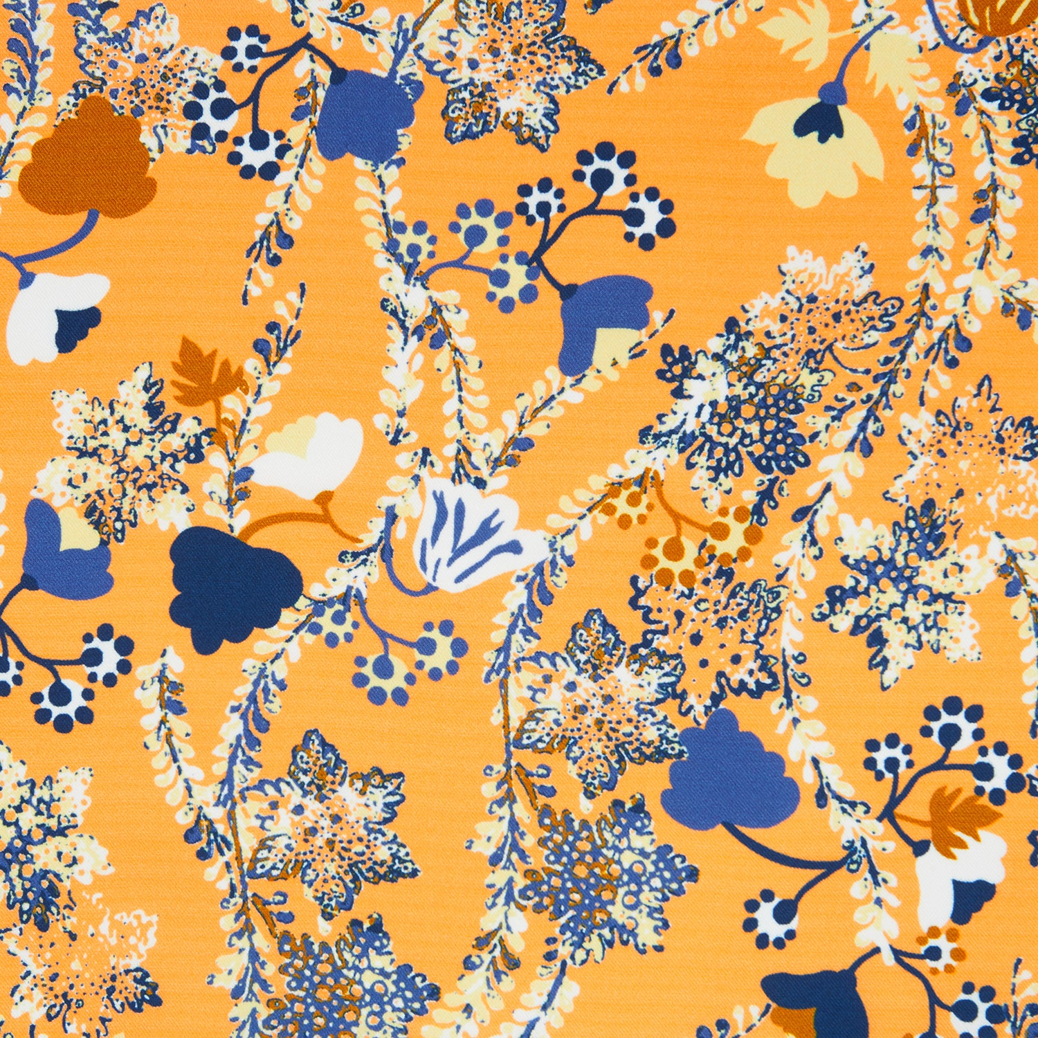 Orange Fine Floral Print Silk Pocket Square