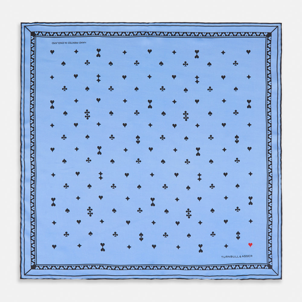Blue Hearts Silk Pocket Square
