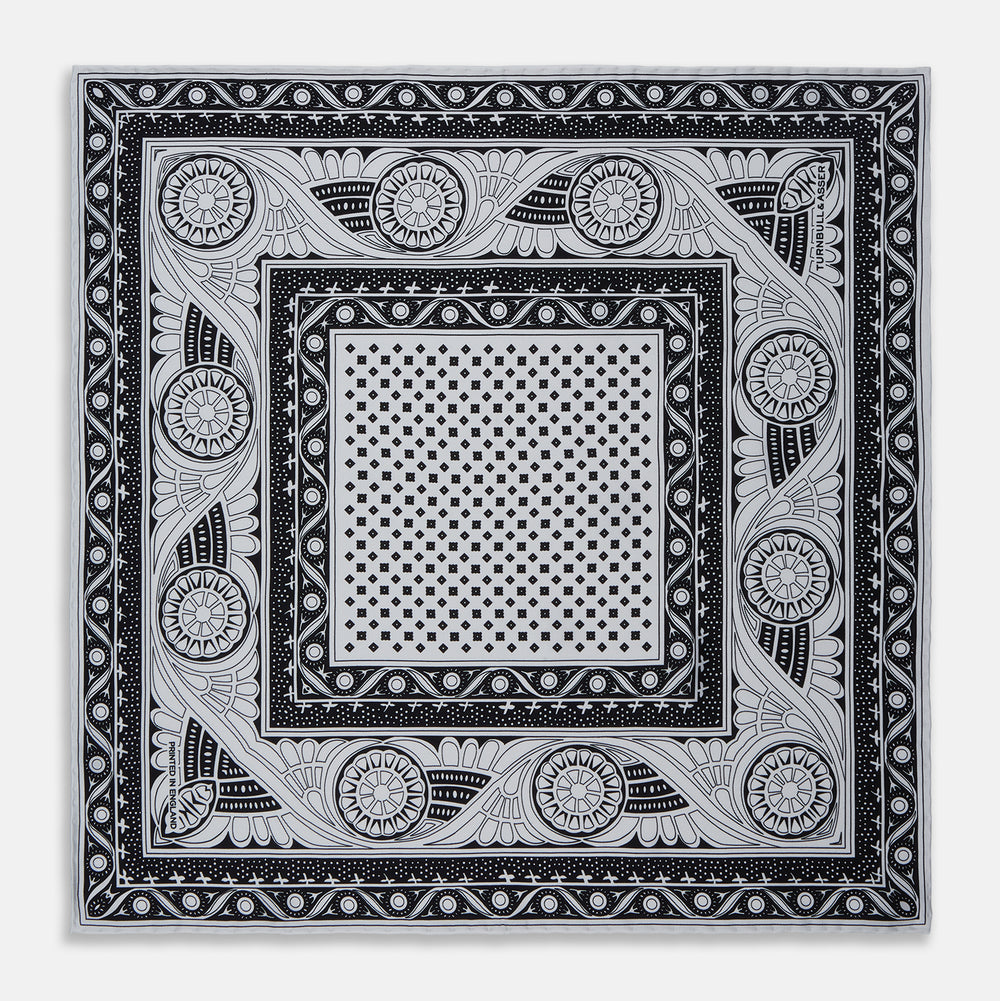 Black Abstract Border Silk Pocket Square