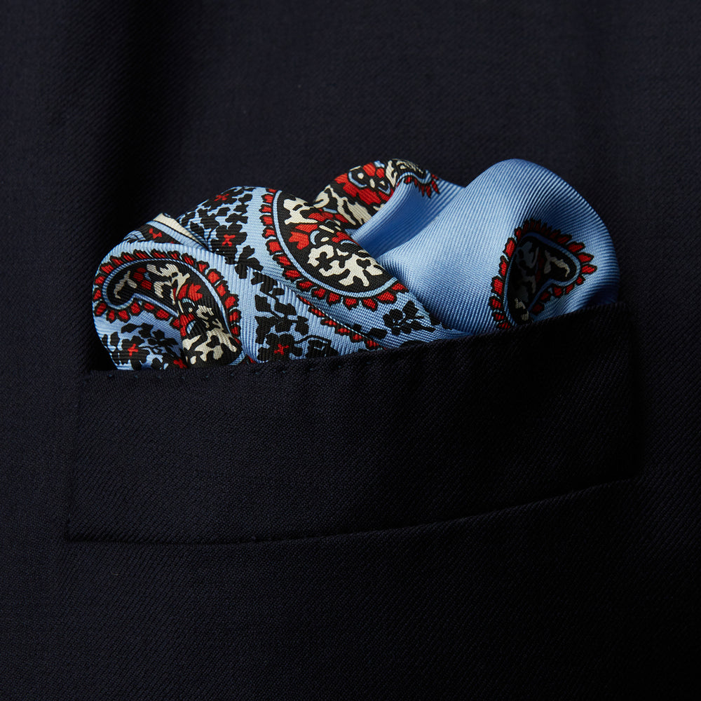 Pale Blue Squiggle Paisley Pocket Square