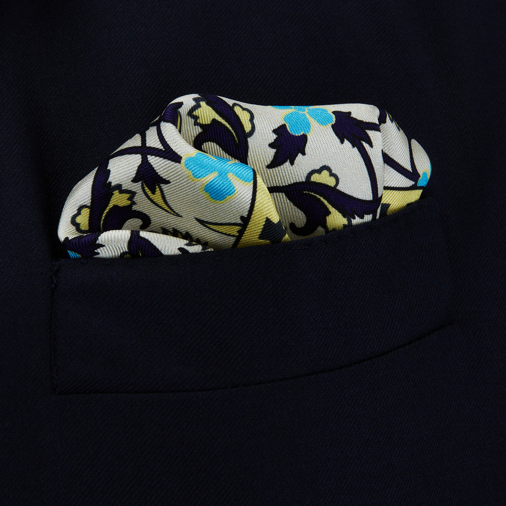 Cream Geometric Floral Silk Pocket Square