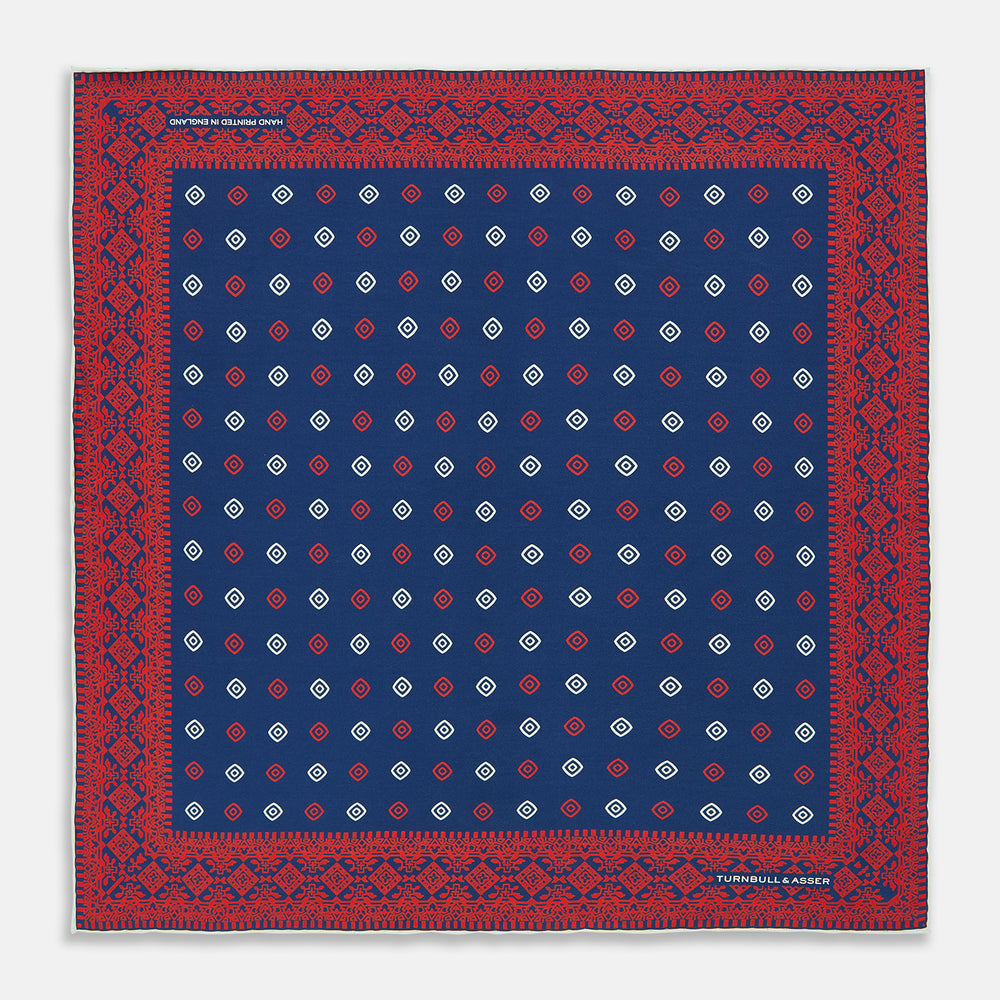 Navy Diamond Eye Silk Pocket Square