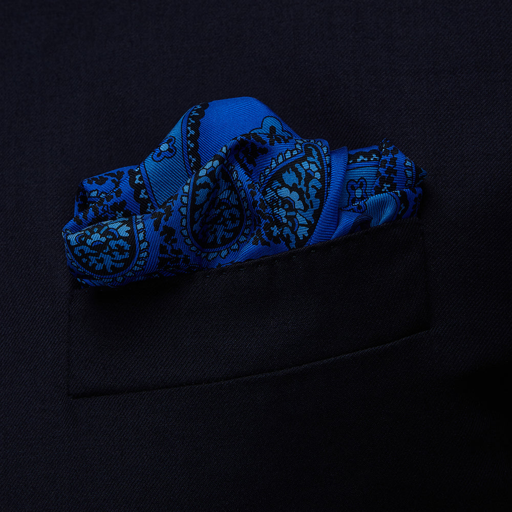 Blue Squiggle Paisley Pocket Square