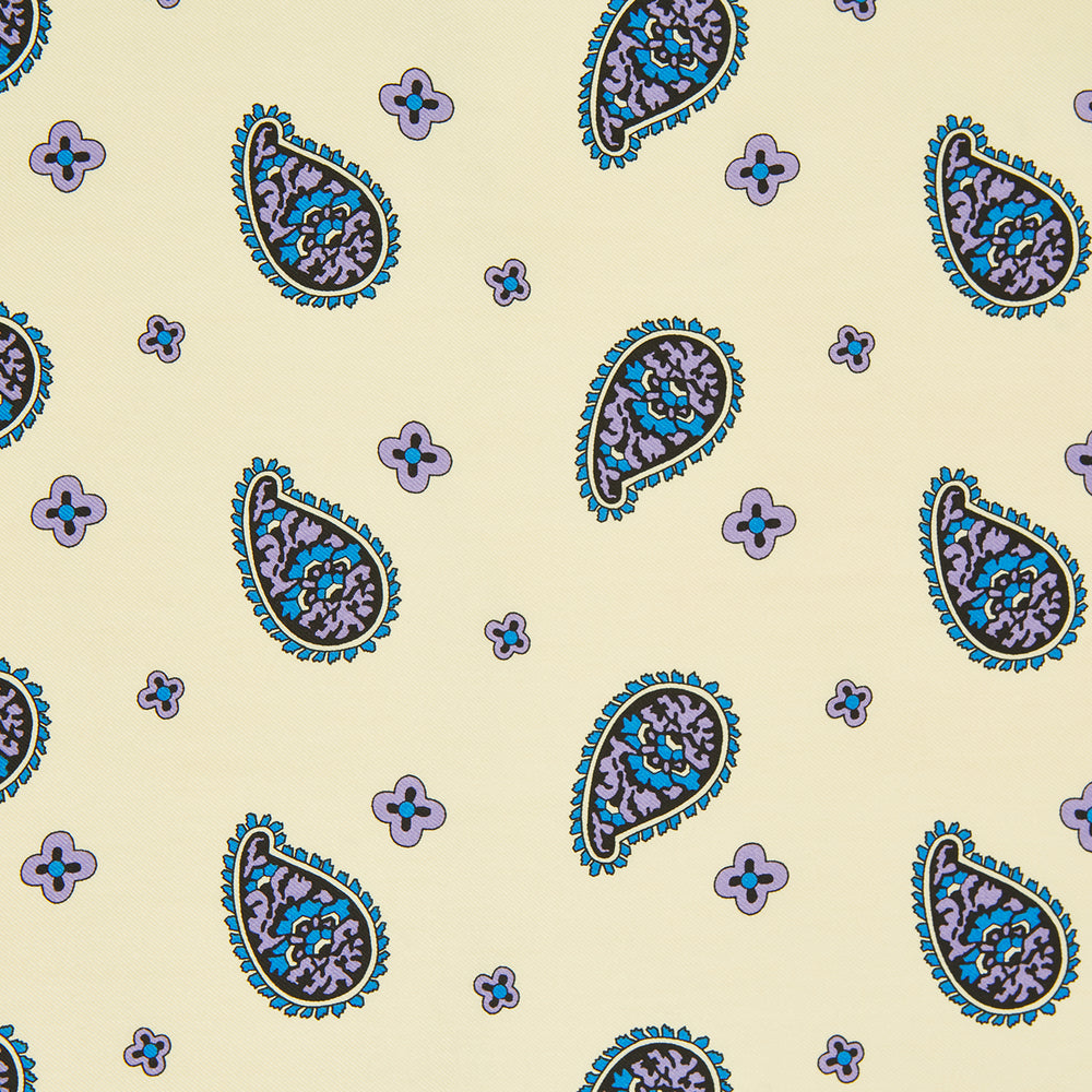 Cream Squiggle Paisley Pocket Square