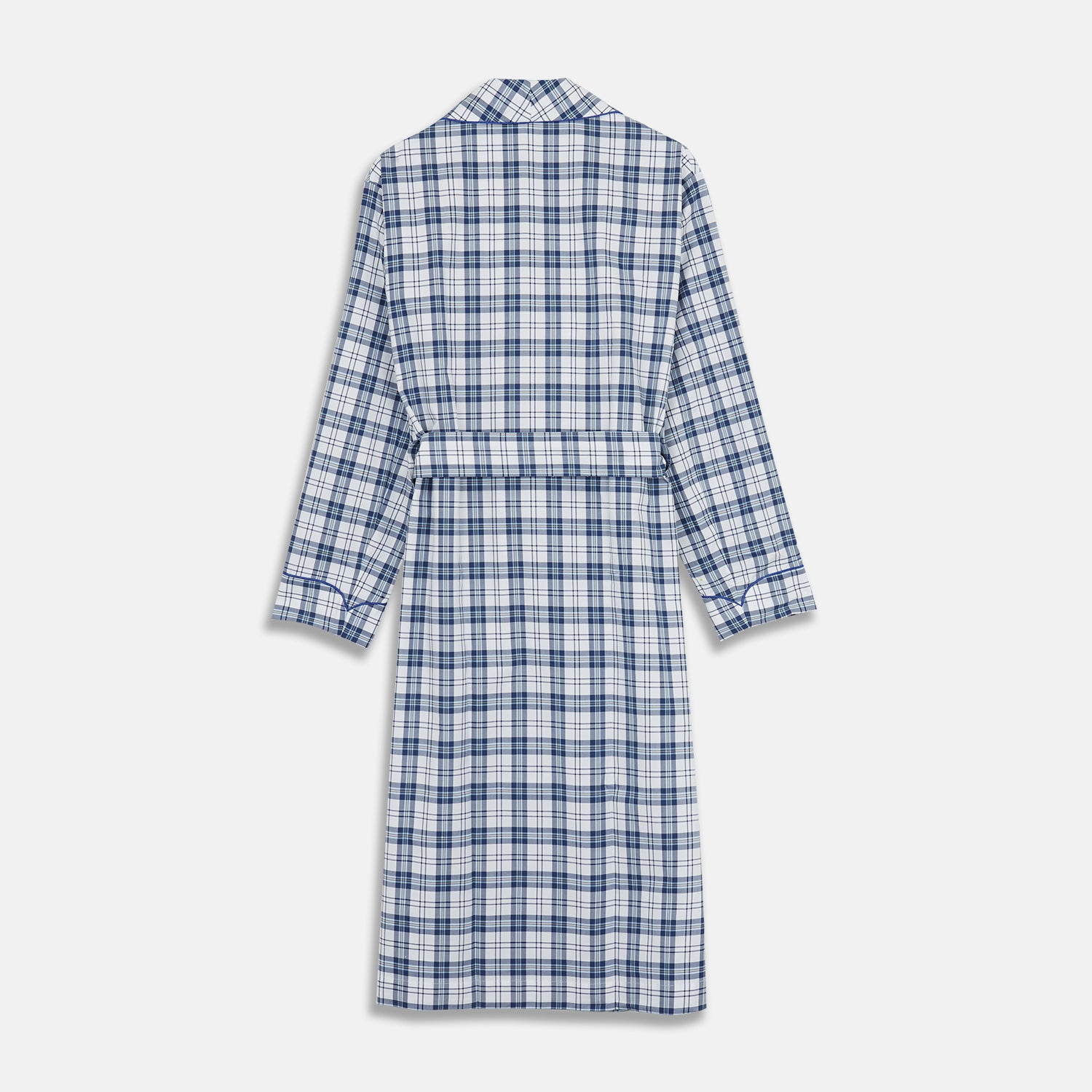 Blue Check Cotton Gown