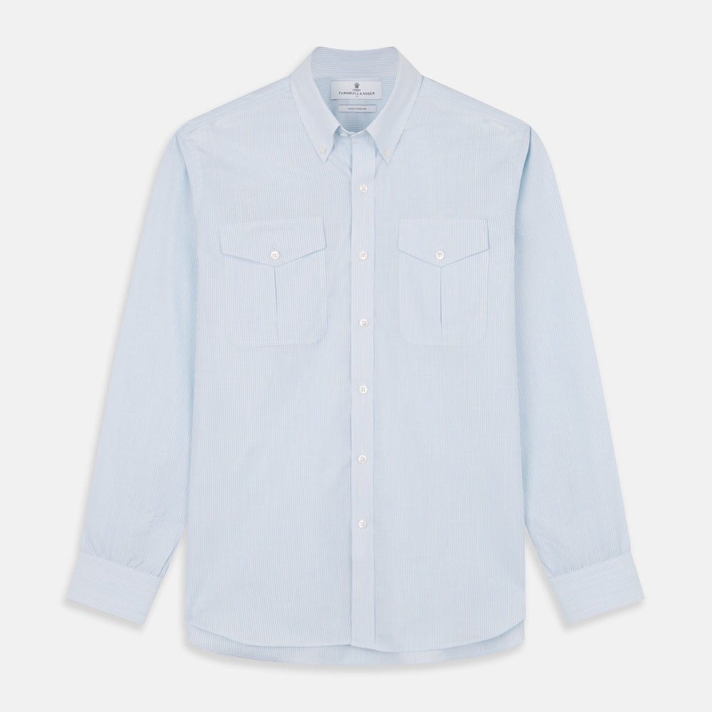 Sky Blue Chambray Stripe Weekend Fit Shirt With Dorset Collar