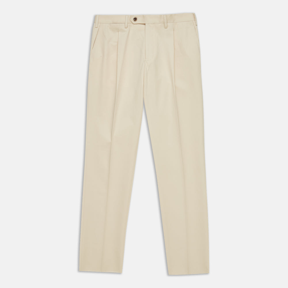 Sand Cotton Pleated Gerry Trouser