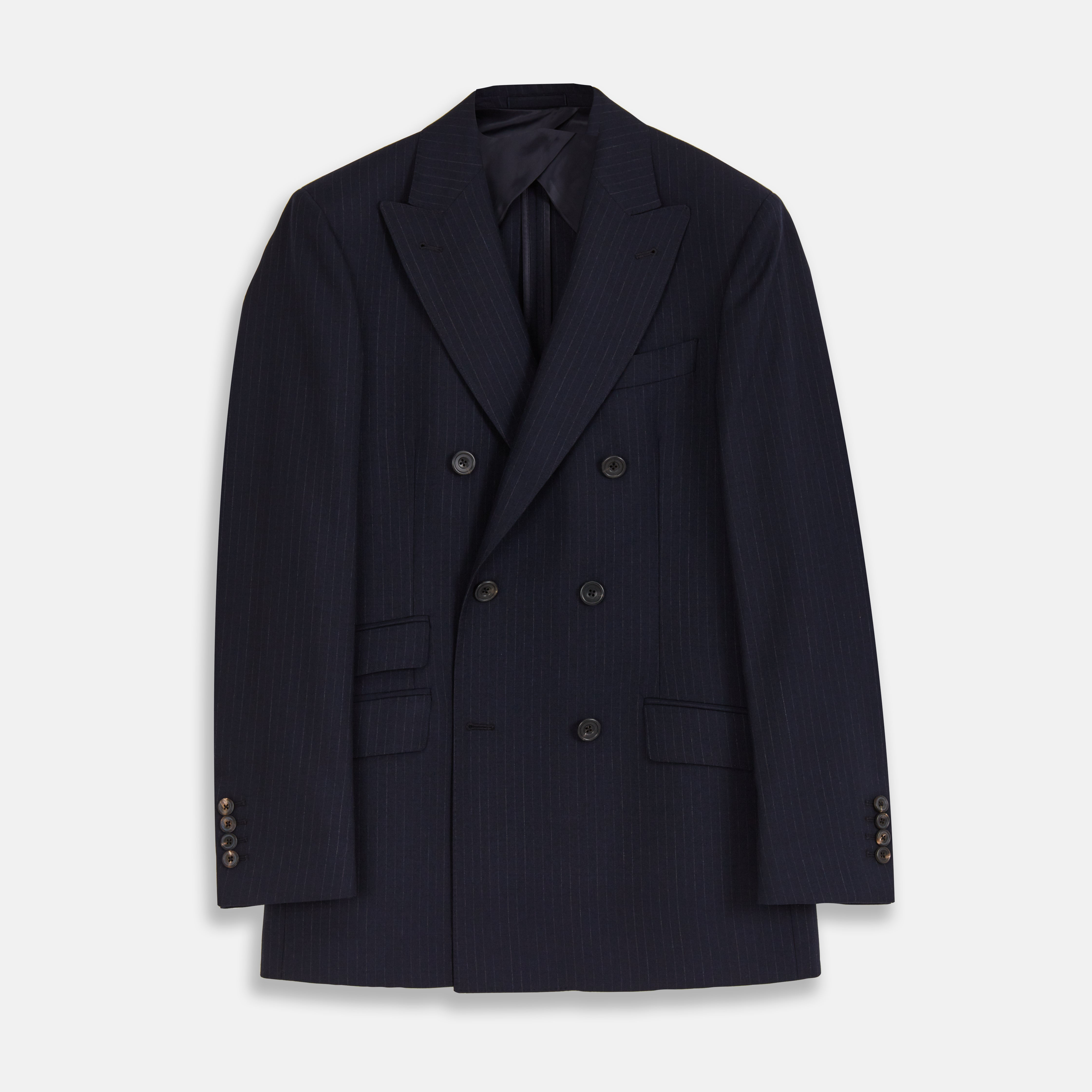 Navy Wool Pinstripe Double-Breasted Jacket