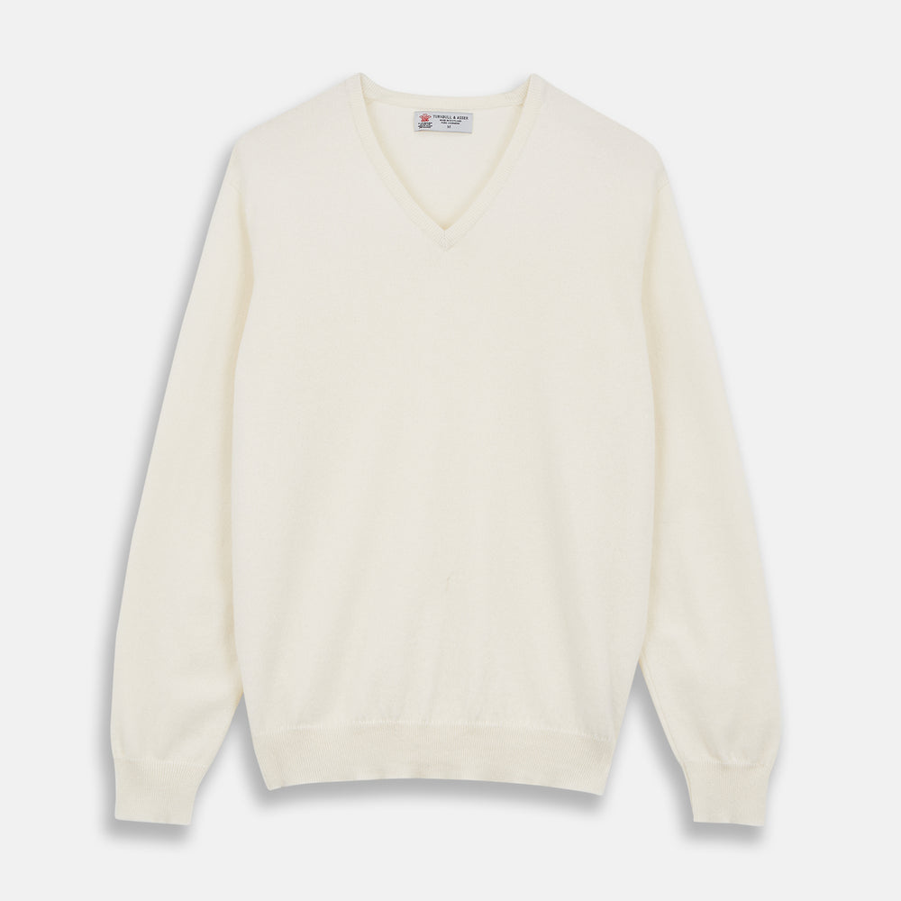 Cream Cashmere V-Neck Jumper