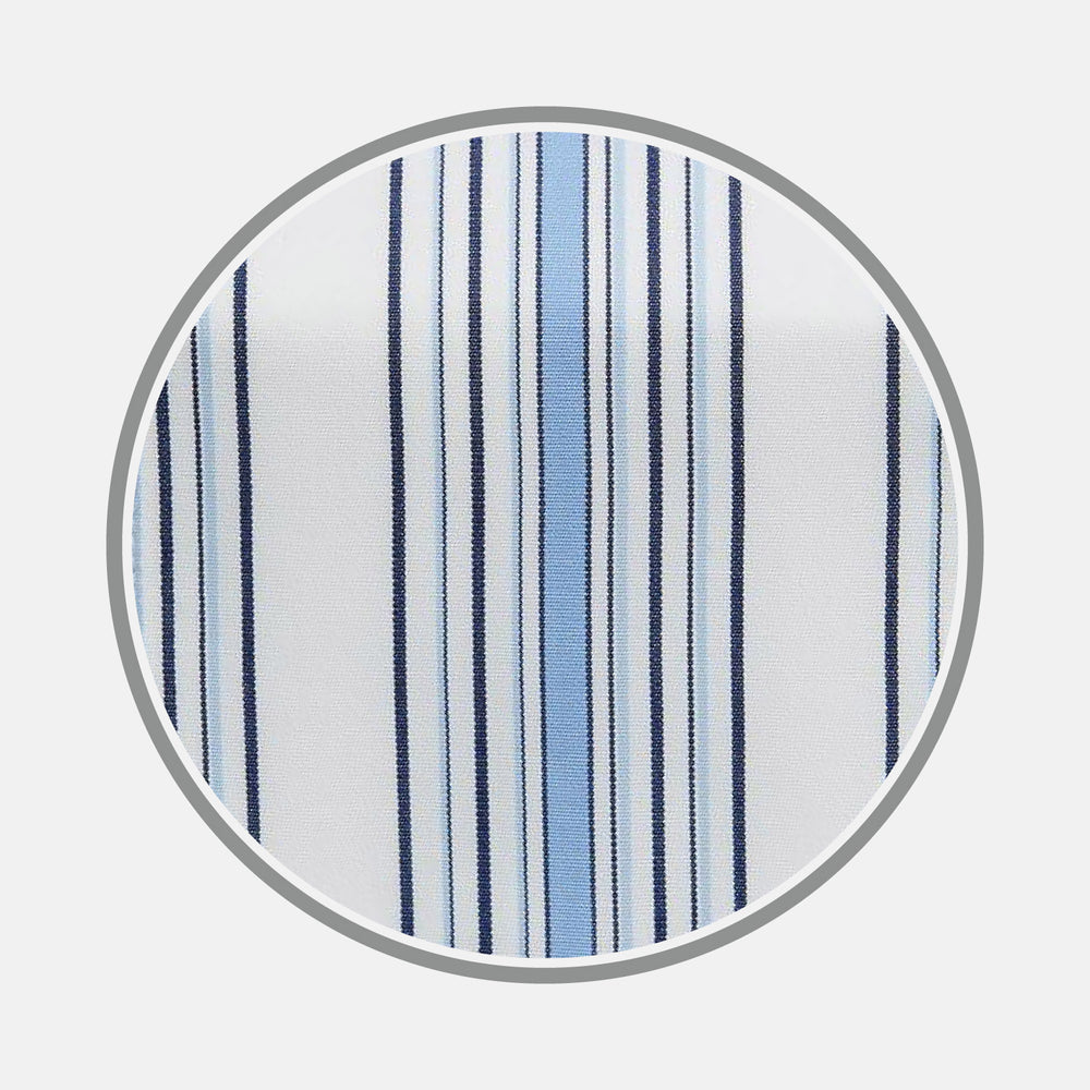 Blue Multi Stripe Cotton Fabric