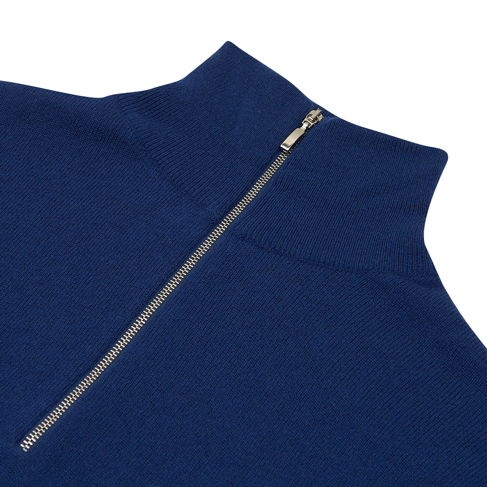 Blue Half-Zip Cashmere Jumper