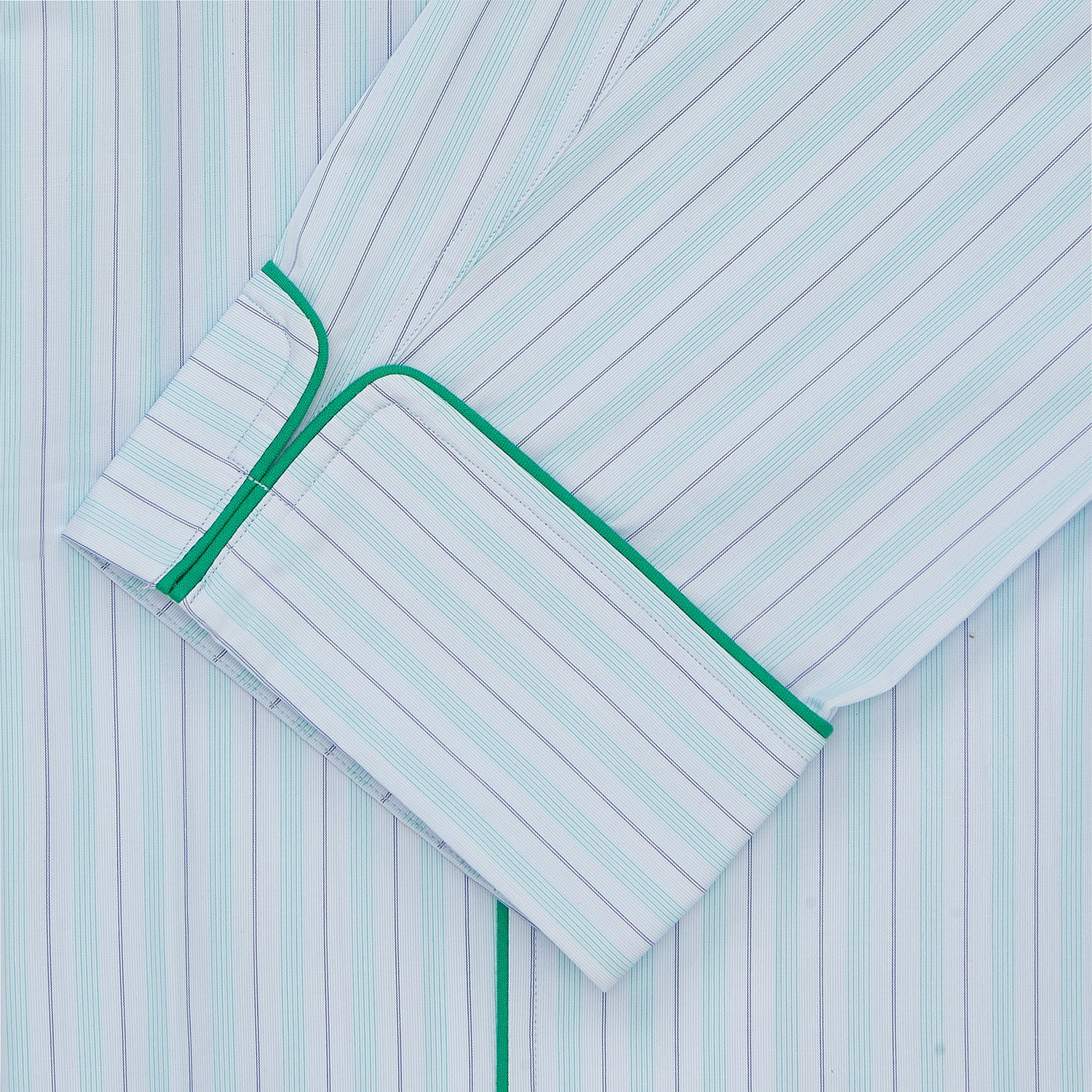 Green & Light Blue Poplin Cotton Stripe Pyjama Set
