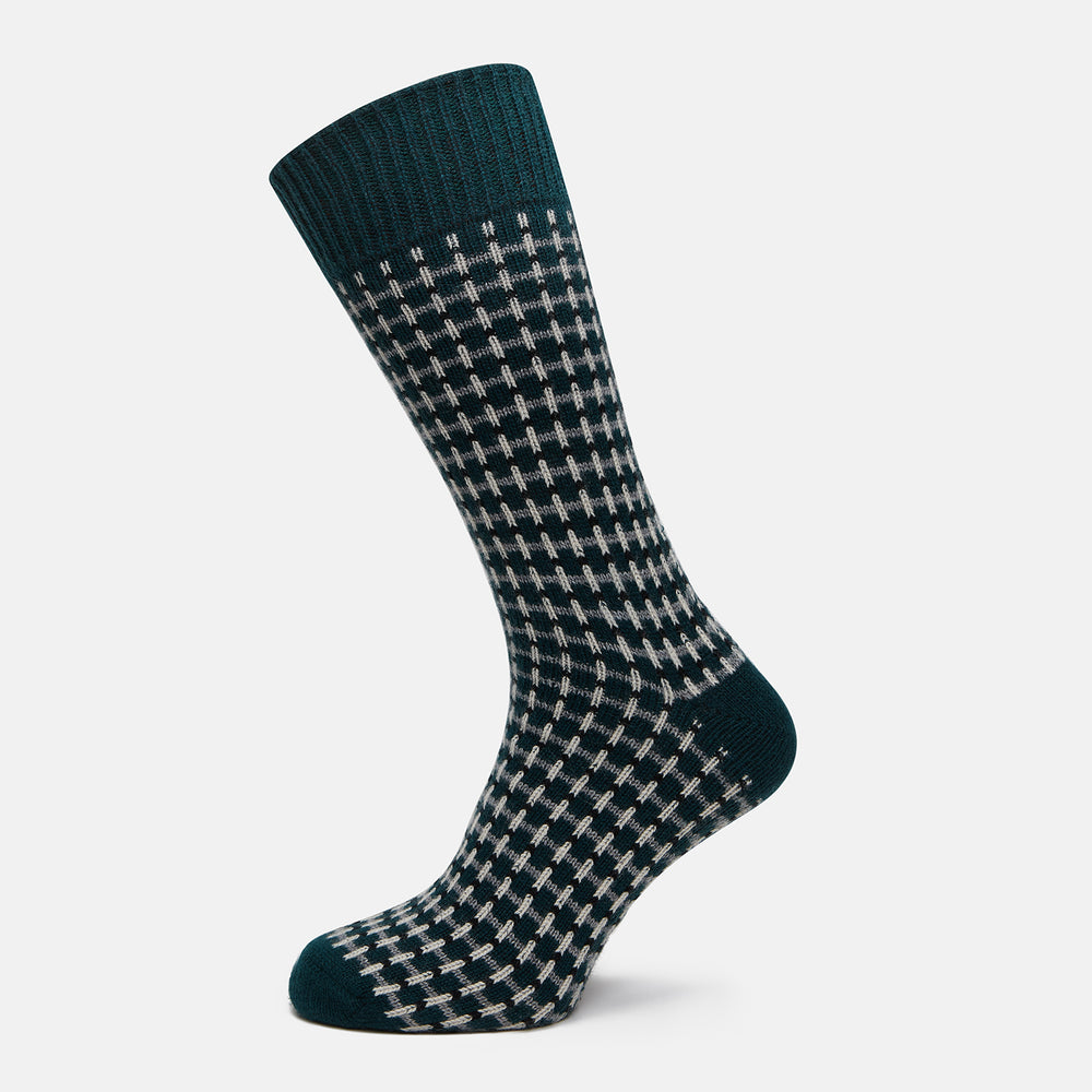 Holly Green Ribbed Short Cashmere Socks