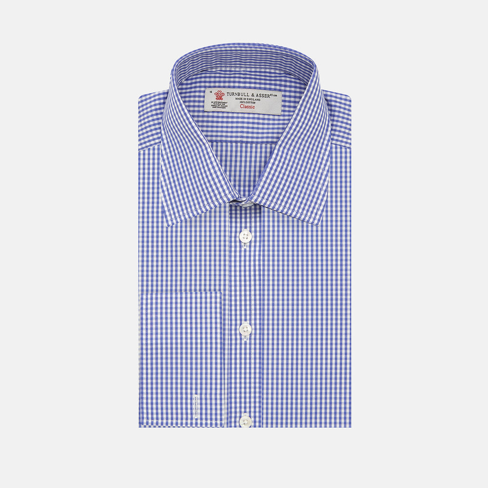Mid Blue Gingham Check Shirt with T&A Collar and Double Cuffs