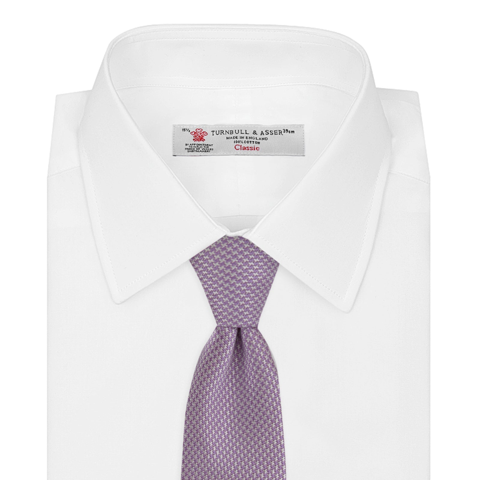 Lilac Houndstooth Silk Tie
