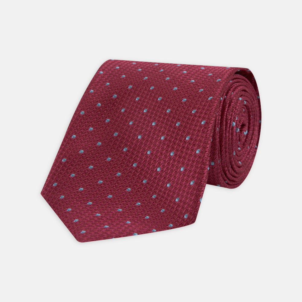 Dark Pink and Blue Spot Lace Silk Tie