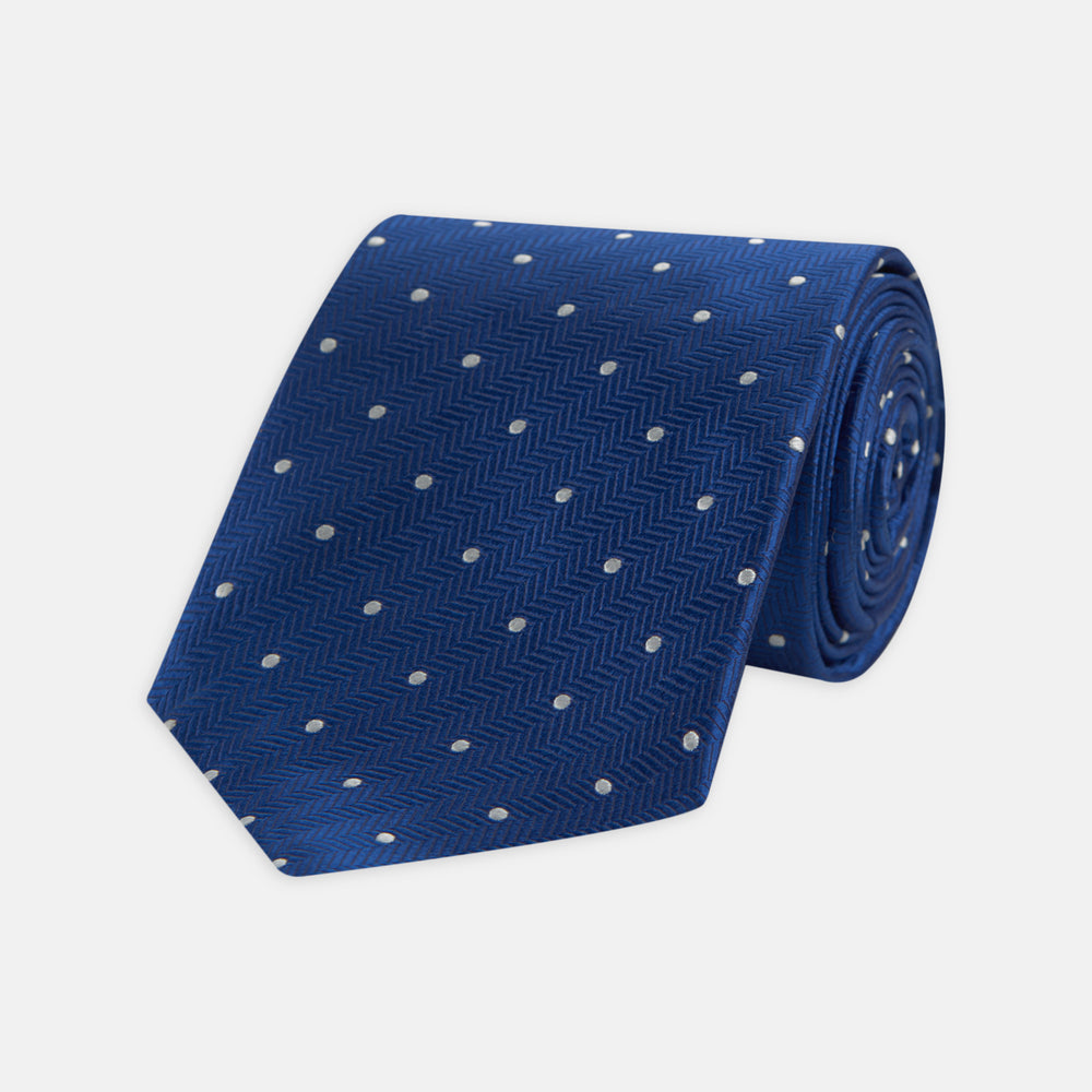 Royal Blue and White Small Spot Herringbone Silk Tie