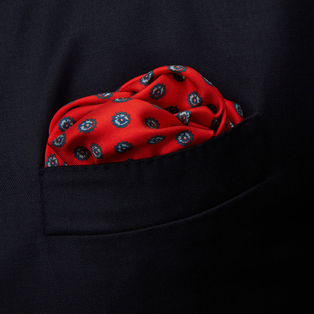 Red Fine Floral Print Silk Pocket Square