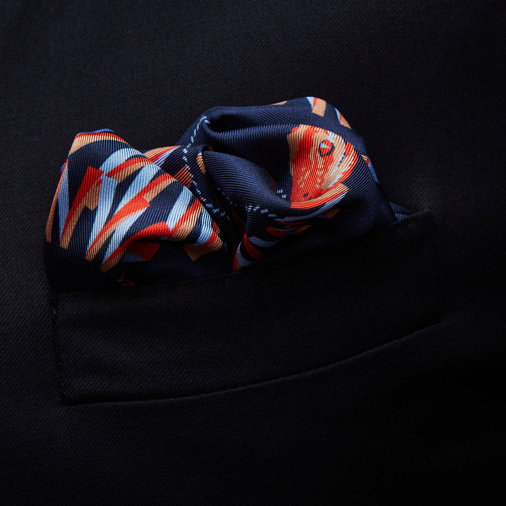 Navy Ladder Snake Print Silk Pocket Square