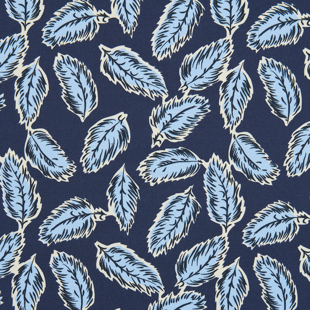 Navy Abstract Feather Print Silk Pocket Square
