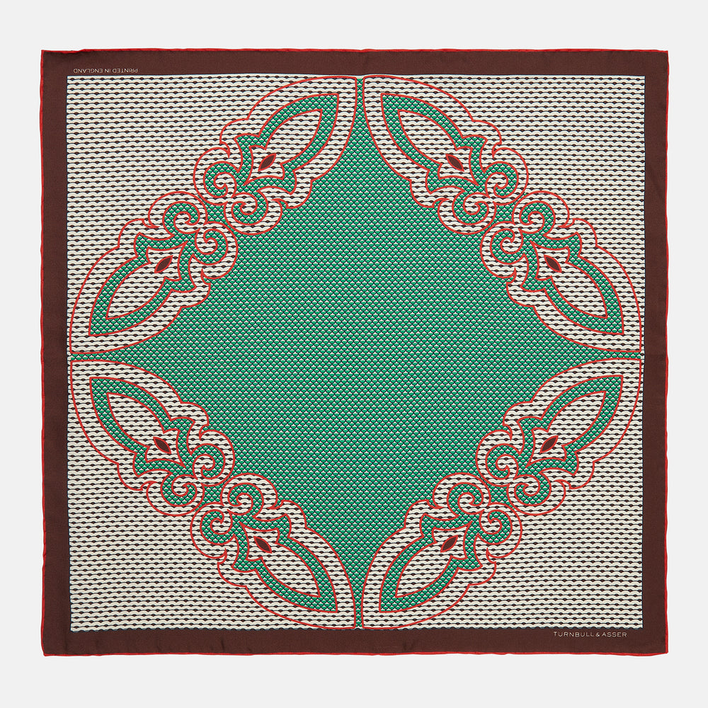 Pink and Green Scales Print Silk Pocket Square