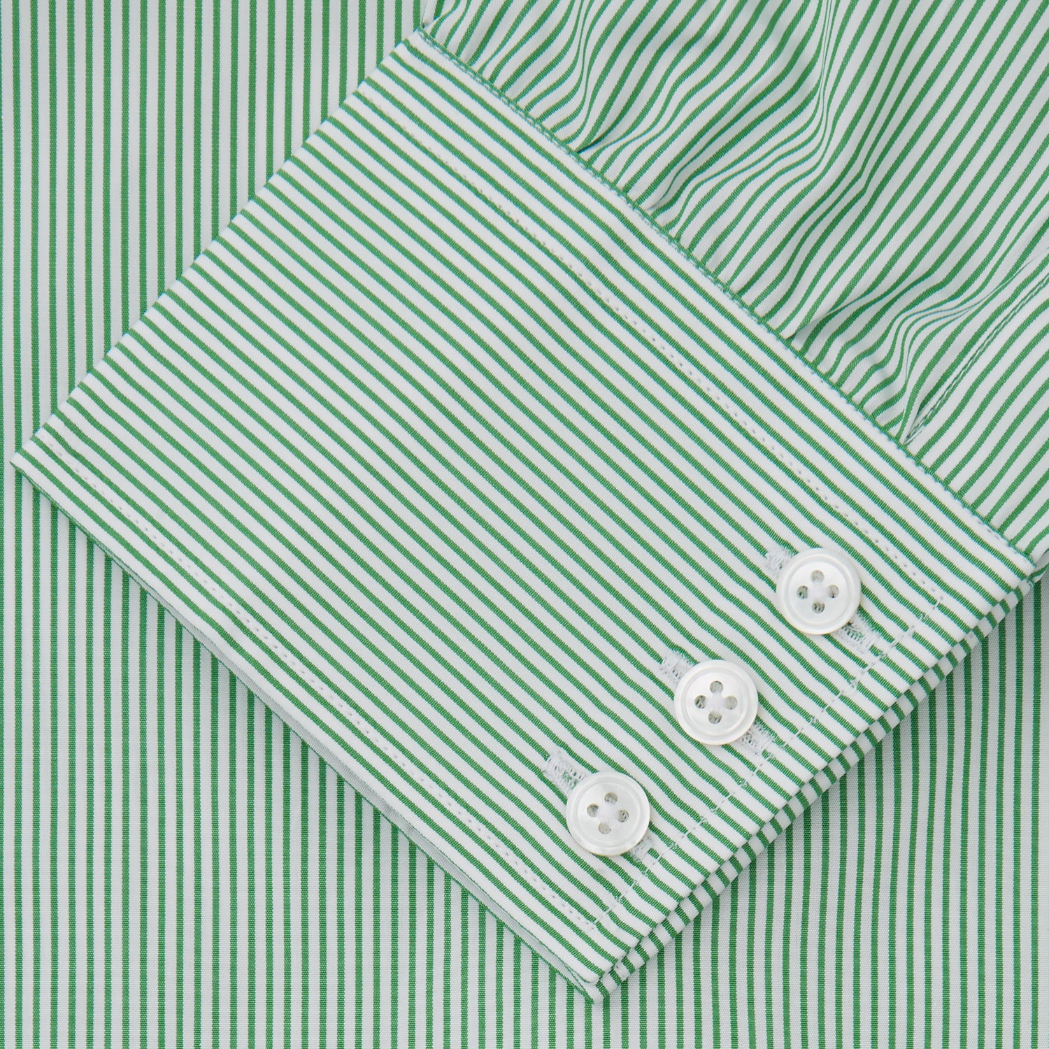 Green Fine Stripe Regular Fit Shirt with T&A Collar