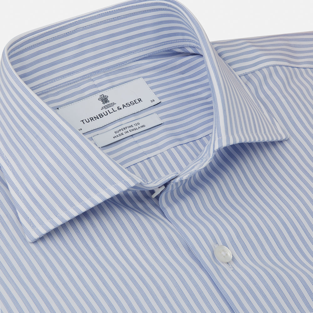 Sky Blue and White Stripe Tailored Fit Shirt with Kent Collar and 2-Button Cuffs